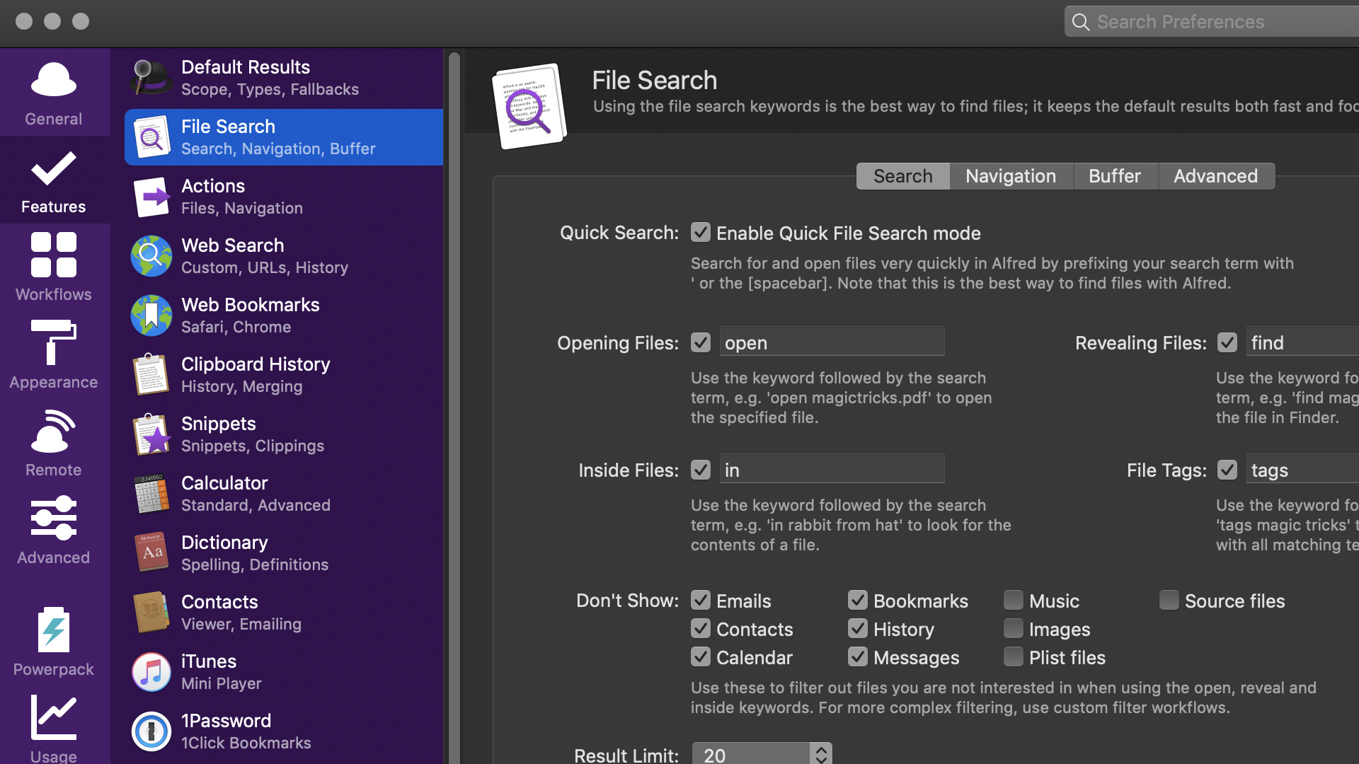 Alfred - app launcher, file search, text expander and custom workflows