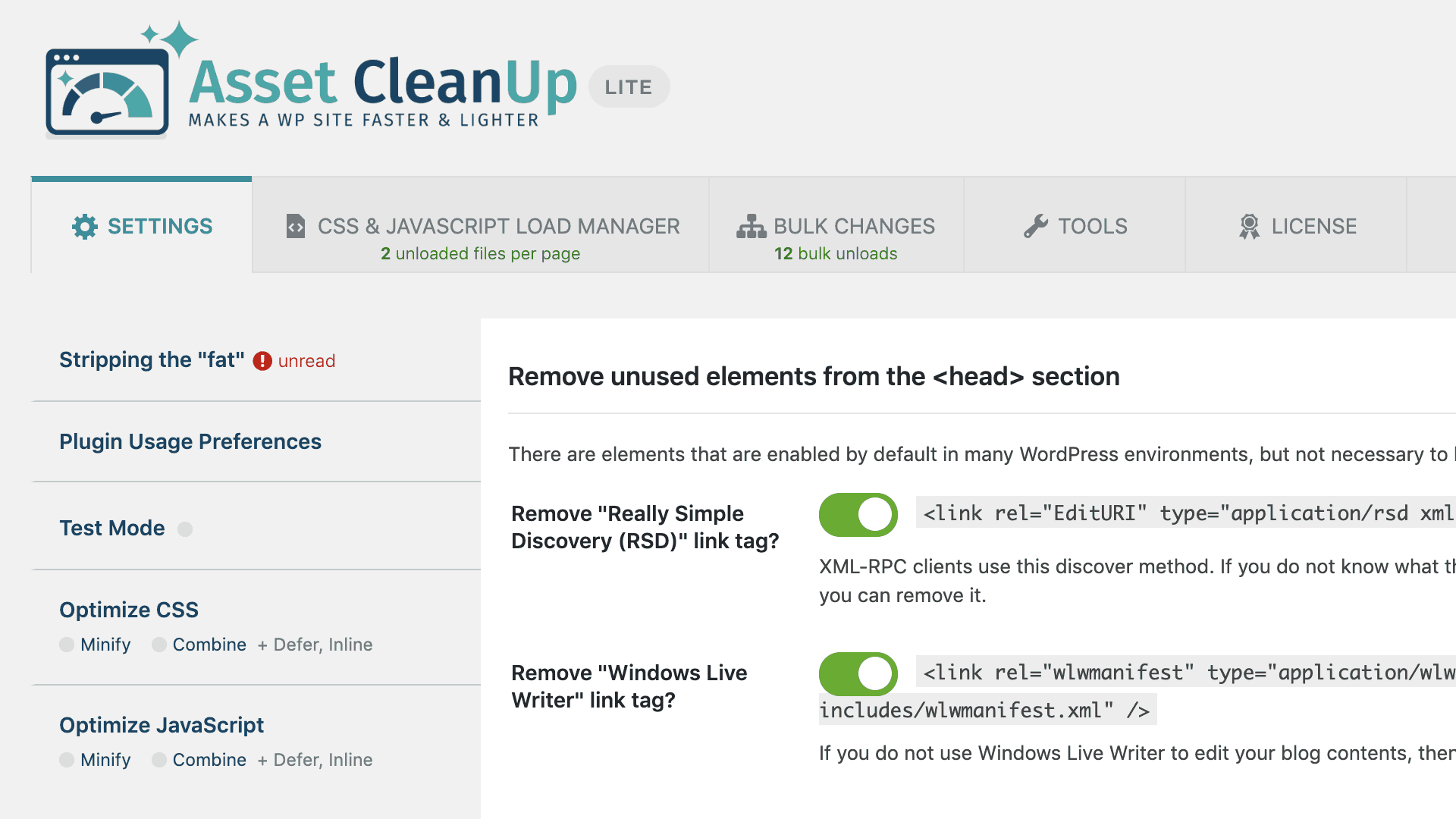 Asset CleanUp: Page Speed Booster plugin reduces CSS and JavaScript requests