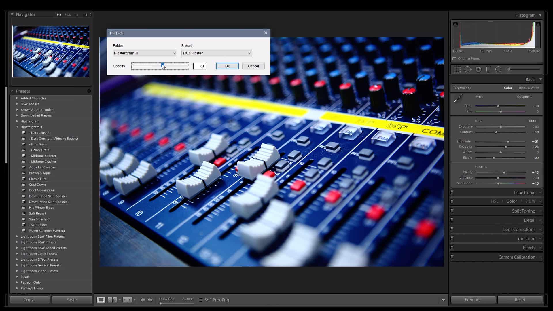 The Fader - Adobe Lightroom presets opacity plugin